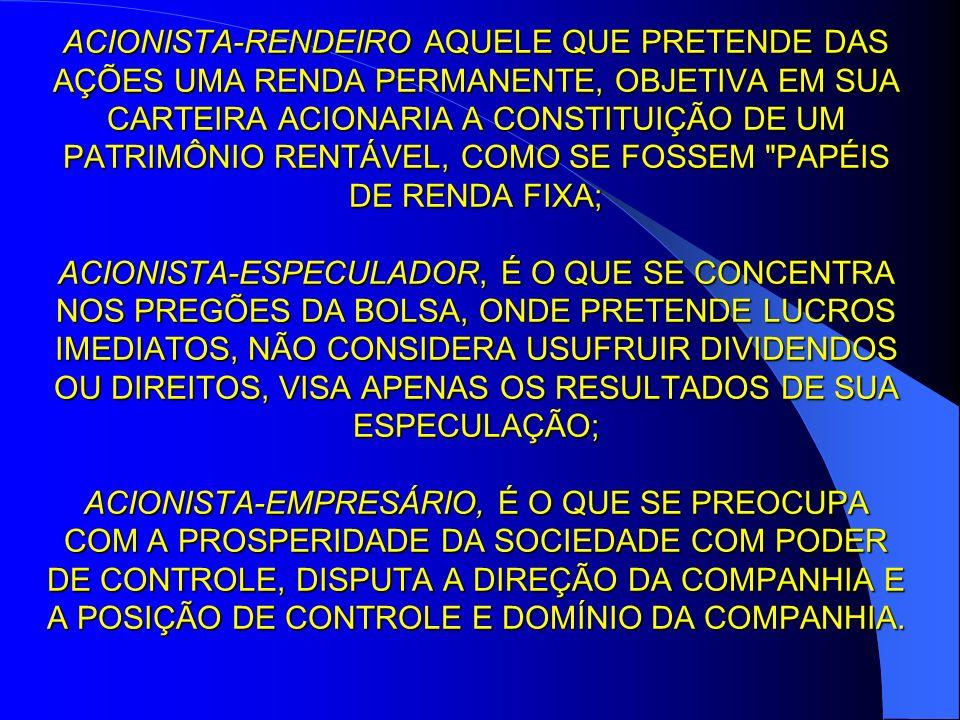 ACIONISTA-RENDEIRO AQUELE QUE PRETENDE DAS AÇÕES UMA RENDA PERMANENTE, OBJETIVA EM SUA CARTEIRA ACIONARIA A CONSTITUIÇÃO DE UM PATRIMÔNIO RENTÁVEL, CO