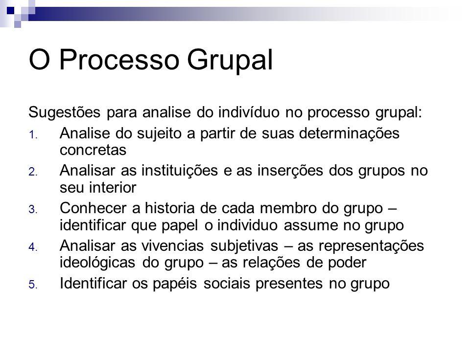 O Processo Grupal Sugestões para analise do indivíduo no processo grupal: 1. Analise do sujeito a partir de suas determinações concretas 2. Analisar a