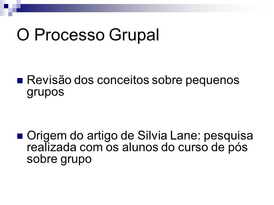 O Processo Grupal Revisão dos conceitos sobre pequenos grupos Origem do artigo de Silvia Lane: pesquisa realizada com os alunos do curso de pós sobre