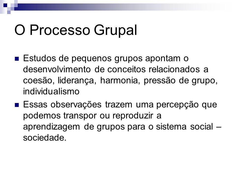 O Processo Grupal Estudos de pequenos grupos apontam o desenvolvimento de conceitos relacionados a coesão, liderança, harmonia, pressão de grupo, indi