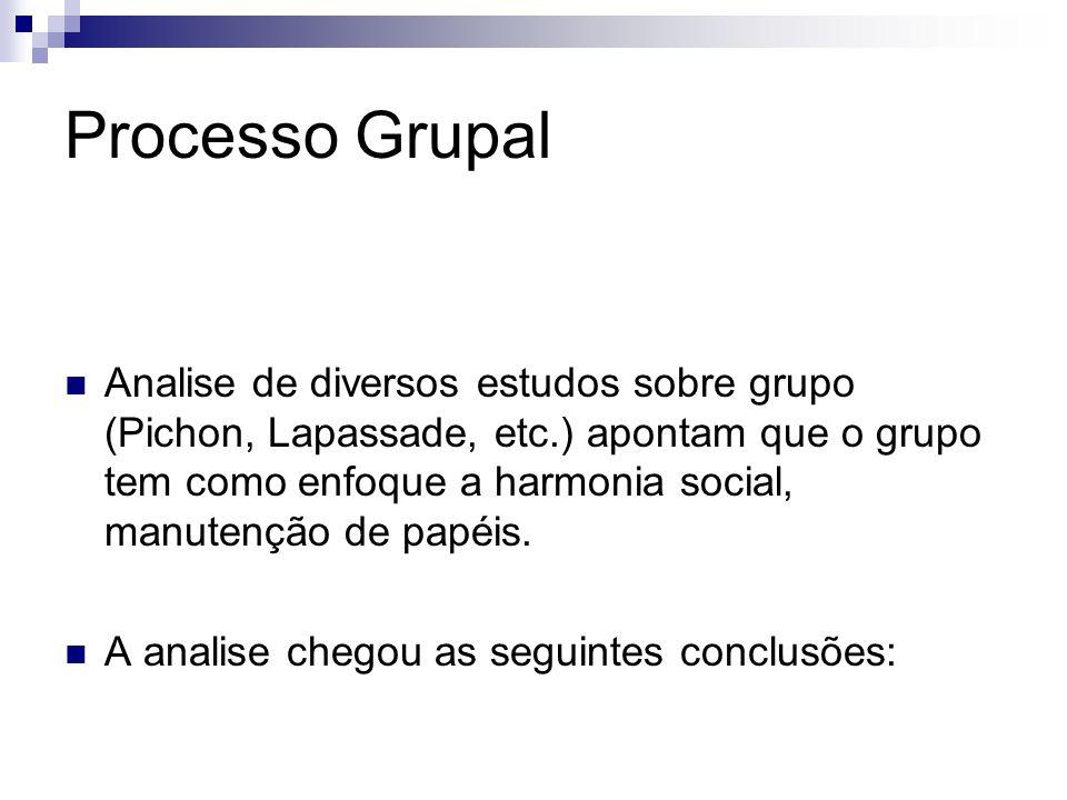 Processo Grupal Analise de diversos estudos sobre grupo (Pichon, Lapassade, etc.) apontam que o grupo tem como enfoque a harmonia social, manutenção d