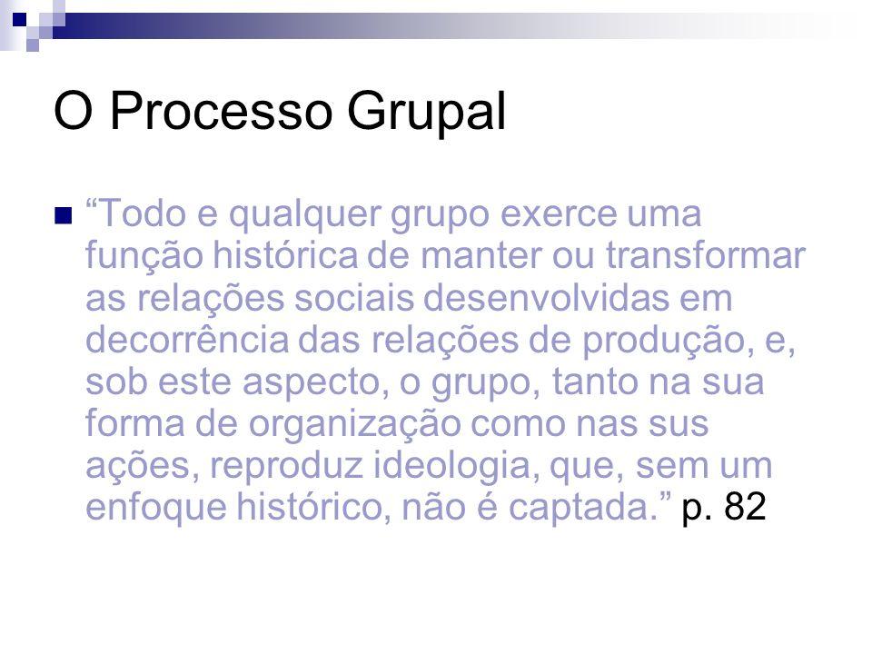 O Processo Grupal Todo e qualquer grupo exerce uma função histórica de manter ou transformar as relações sociais desenvolvidas em decorrência das rela
