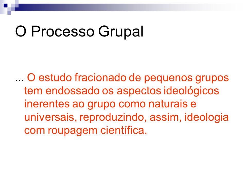 O Processo Grupal... O estudo fracionado de pequenos grupos tem endossado os aspectos ideológicos inerentes ao grupo como naturais e universais, repro