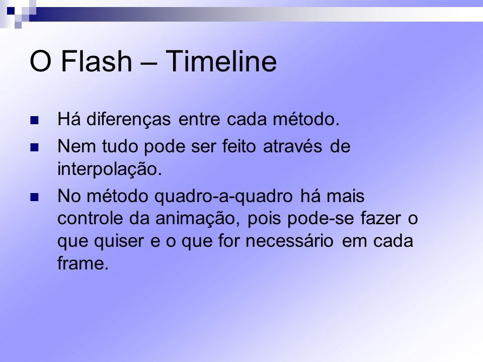 O Flash – Timeline Há diferenças entre cada método. Nem tudo pode ser feito através de interpolação. No método quadro-a-quadro há mais controle da ani