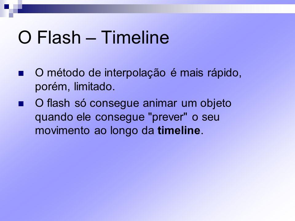 O Flash – Timeline O método de interpolação é mais rápido, porém, limitado. O flash só consegue animar um objeto quando ele consegue