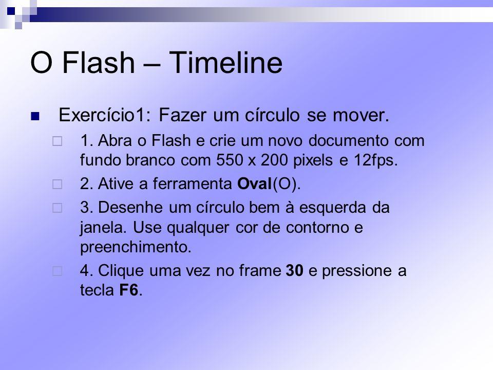 O Flash – Timeline Exercício1: Fazer um círculo se mover. 1. Abra o Flash e crie um novo documento com fundo branco com 550 x 200 pixels e 12fps. 2. A