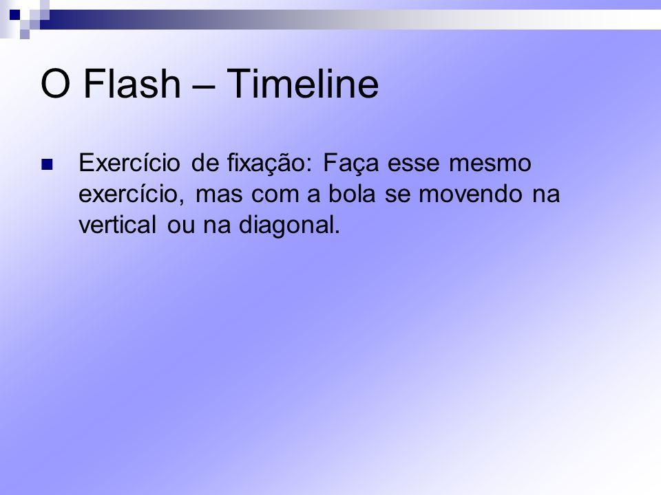 O Flash – Timeline Exercício de fixação: Faça esse mesmo exercício, mas com a bola se movendo na vertical ou na diagonal.