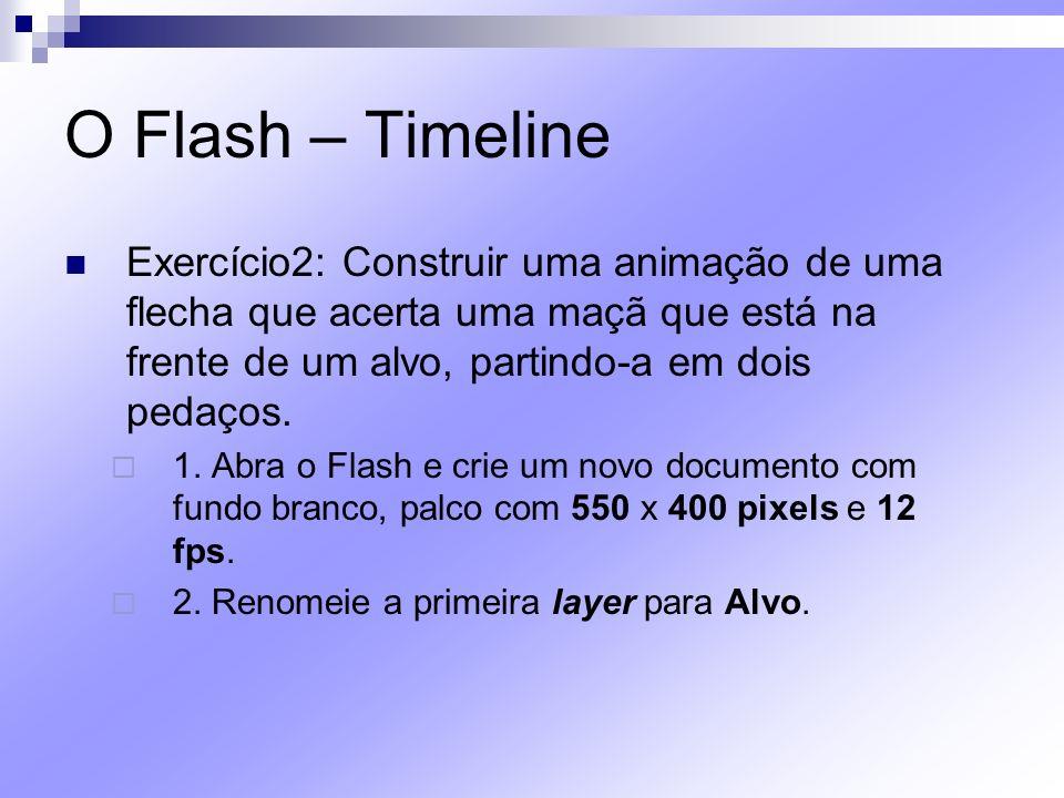 O Flash – Timeline Exercício2: Construir uma animação de uma flecha que acerta uma maçã que está na frente de um alvo, partindo-a em dois pedaços. 1.
