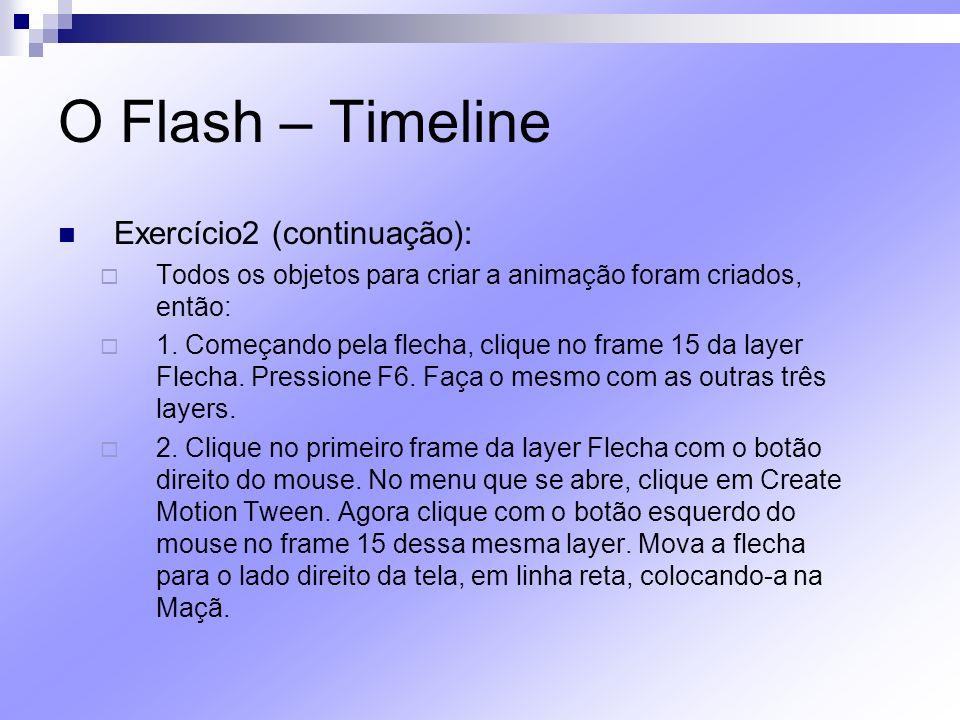 O Flash – Timeline Exercício2 (continuação): Todos os objetos para criar a animação foram criados, então: 1. Começando pela flecha, clique no frame 15