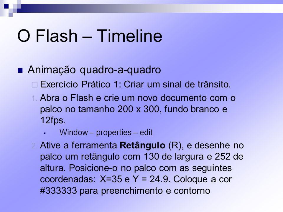 O Flash – Timeline Animação quadro-a-quadro Exercício Prático 1: Criar um sinal de trânsito. 1. Abra o Flash e crie um novo documento com o palco no t