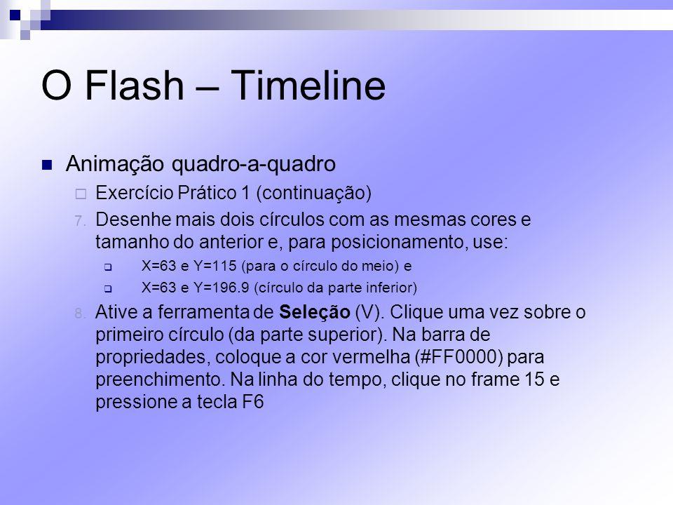 O Flash – Timeline Animação quadro-a-quadro Exercício Prático 1 (continuação) 7. Desenhe mais dois círculos com as mesmas cores e tamanho do anterior
