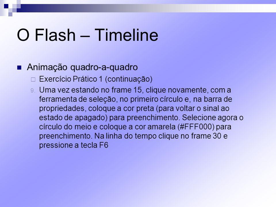 O Flash – Timeline Animação quadro-a-quadro Exercício Prático 1 (continuação) 9. Uma vez estando no frame 15, clique novamente, com a ferramenta de se