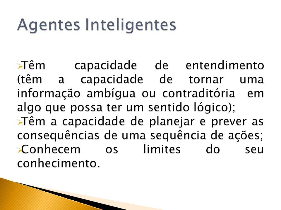 Têm capacidade de entendimento (têm a capacidade de tornar uma informação ambígua ou contraditória em algo que possa ter um sentido lógico); Têm a cap