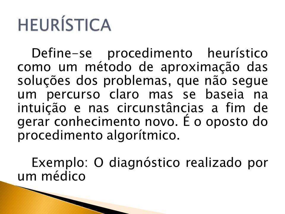 Define-se procedimento heurístico como um método de aproximação das soluções dos problemas, que não segue um percurso claro mas se baseia na intuição
