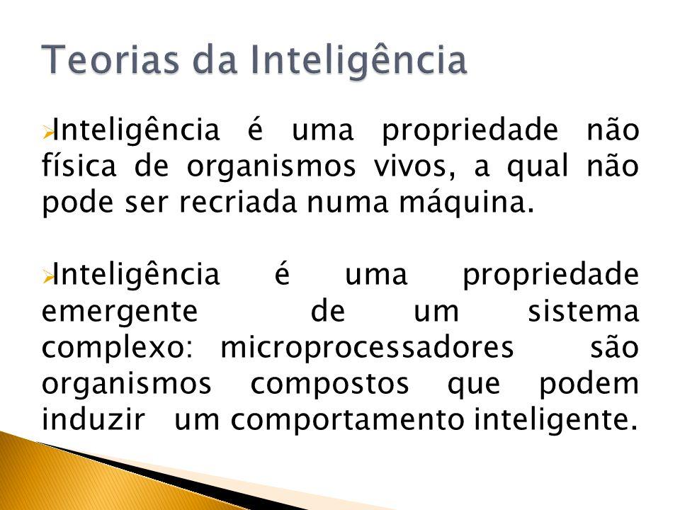 Inteligência é uma propriedade não física de organismos vivos, a qual não pode ser recriada numa máquina. Inteligência é uma propriedade emergente de