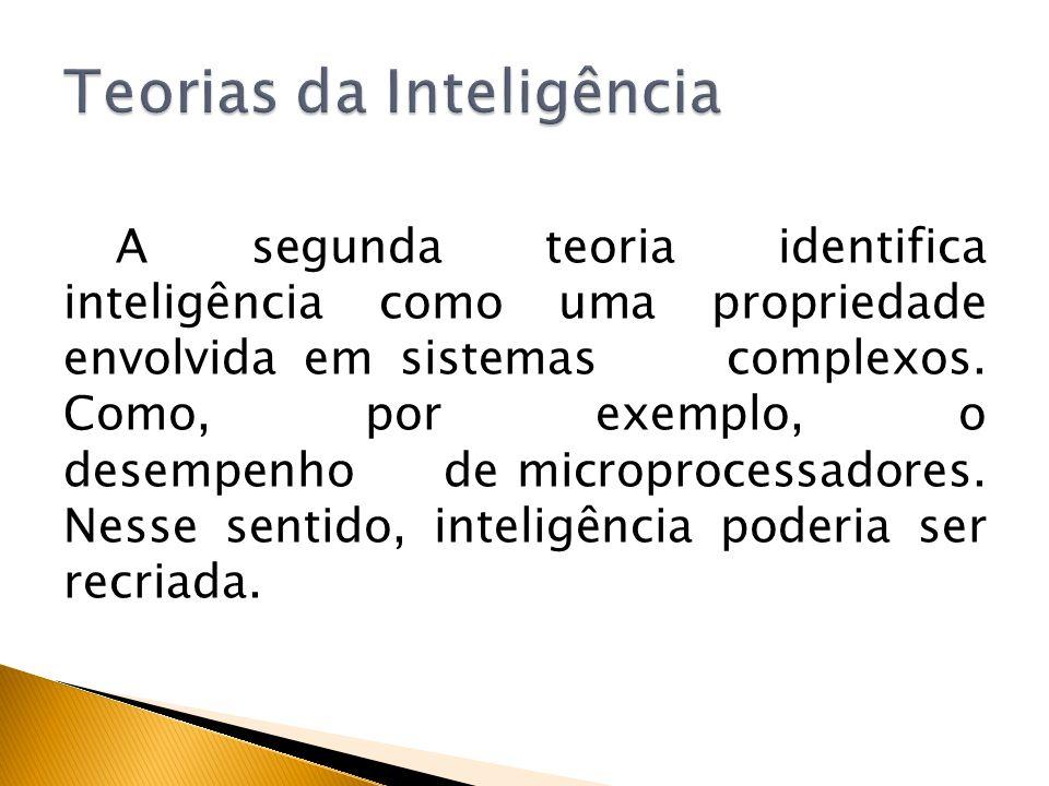 A segunda teoria identifica inteligência como uma propriedade envolvida em sistemas complexos. Como, por exemplo, o desempenho de microprocessadores.