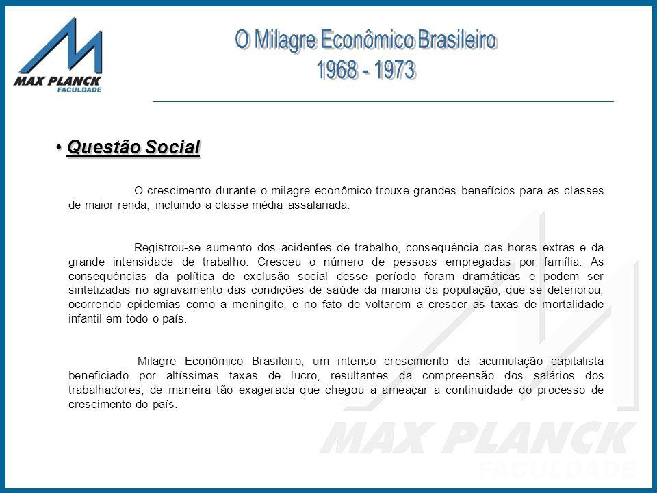 Questão Social Questão Social O crescimento durante o milagre econômico trouxe grandes benefícios para as classes de maior renda, incluindo a classe m