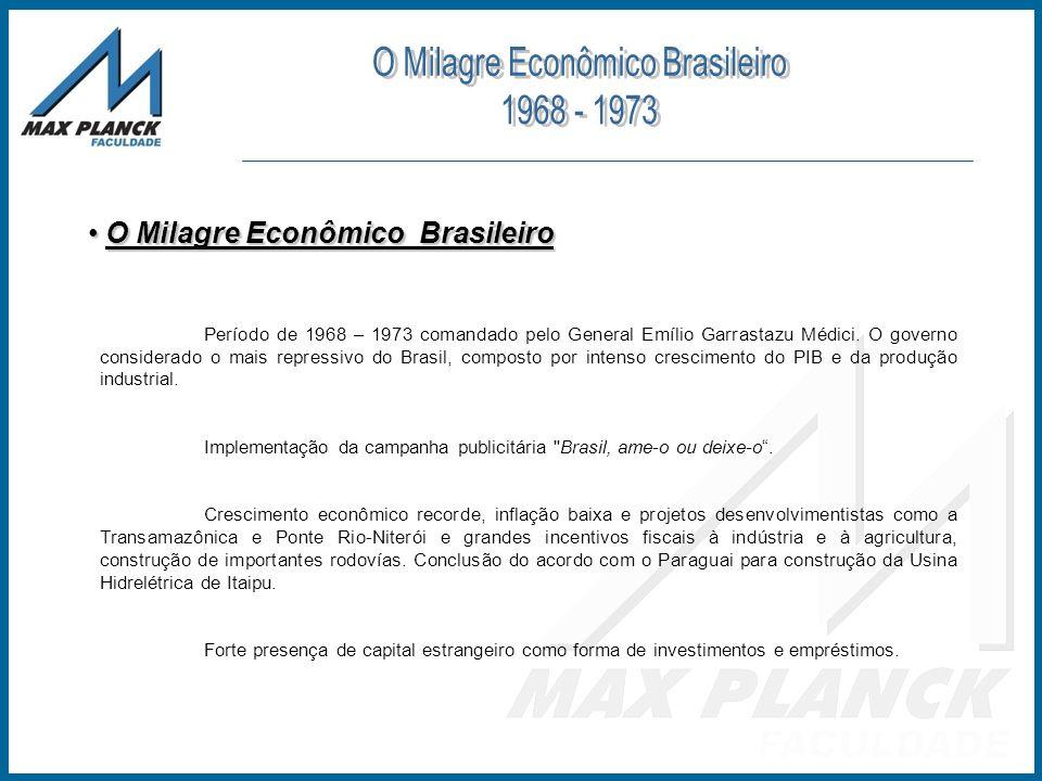 O Milagre Econômico Brasileiro O Milagre Econômico Brasileiro Período de 1968 – 1973 comandado pelo General Emílio Garrastazu Médici. O governo consid