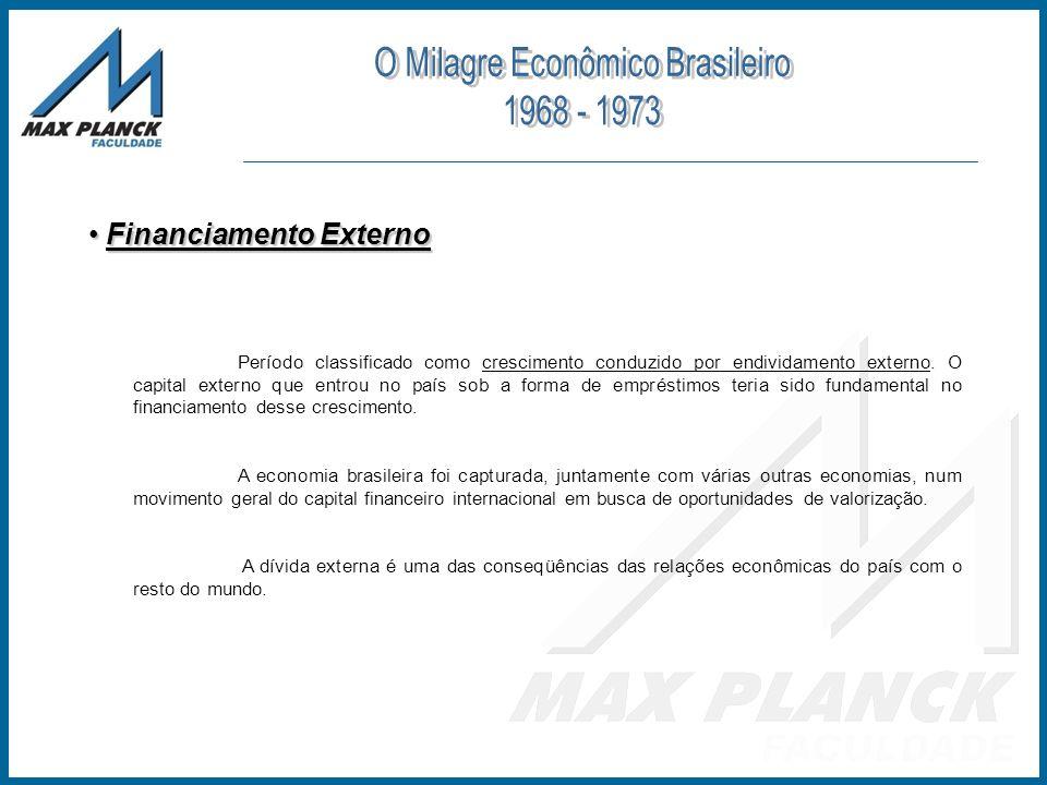 Financiamento Externo Financiamento Externo Período classificado como crescimento conduzido por endividamento externo. O capital externo que entrou no