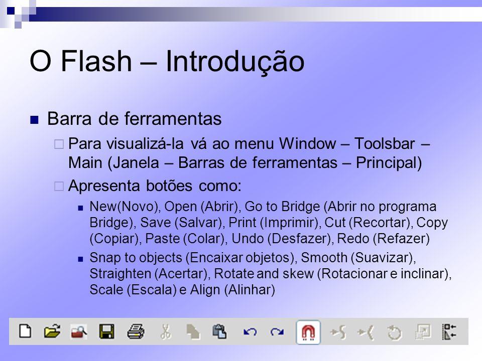 O Flash – Introdução Barra de ferramentas Para visualizá-la vá ao menu Window – Toolsbar – Main (Janela – Barras de ferramentas – Principal) Apresenta