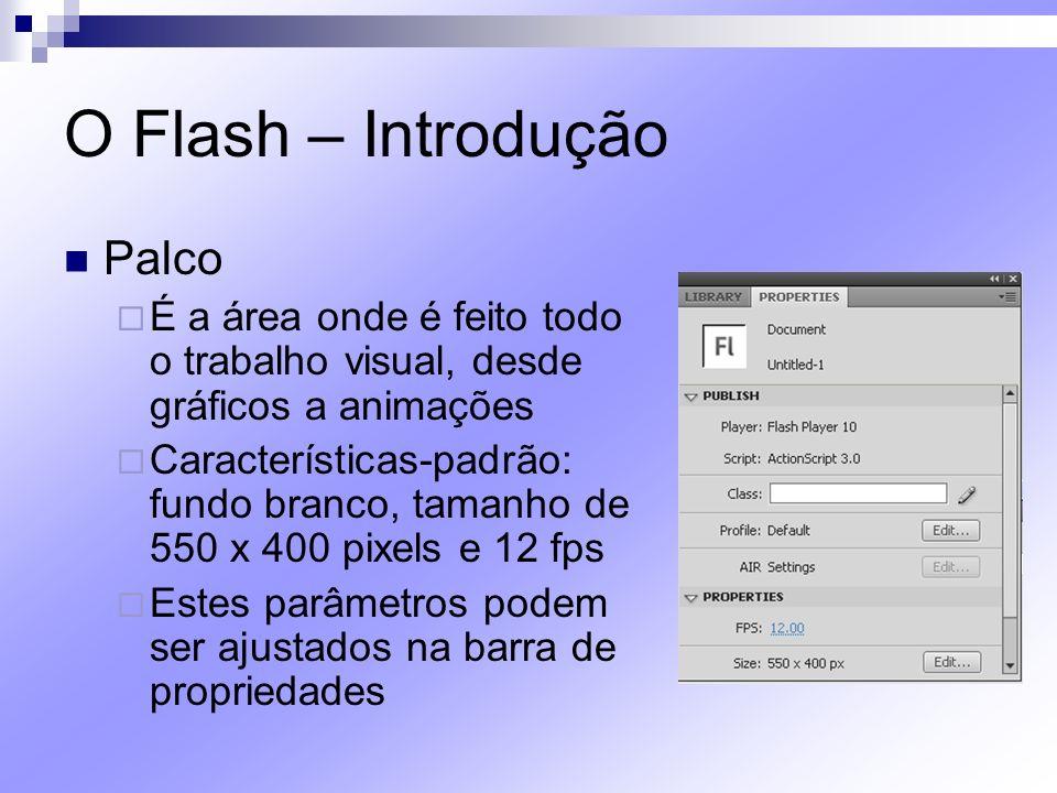 O Flash – Introdução Palco É a área onde é feito todo o trabalho visual, desde gráficos a animações Características-padrão: fundo branco, tamanho de 5