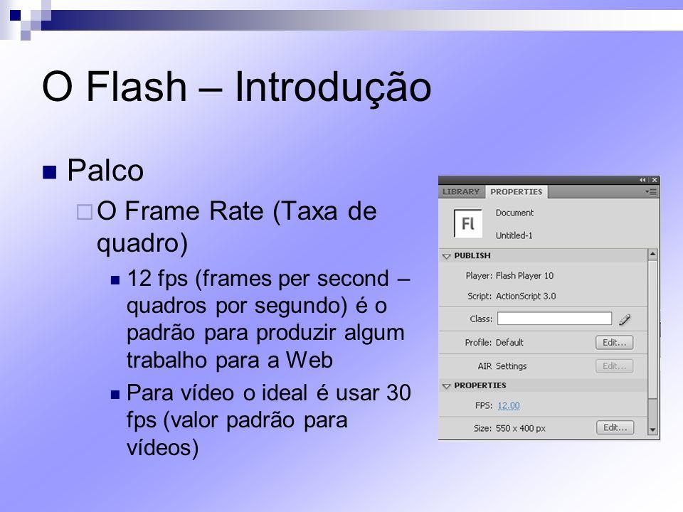 O Flash – Introdução Palco O Frame Rate (Taxa de quadro) 12 fps (frames per second – quadros por segundo) é o padrão para produzir algum trabalho para