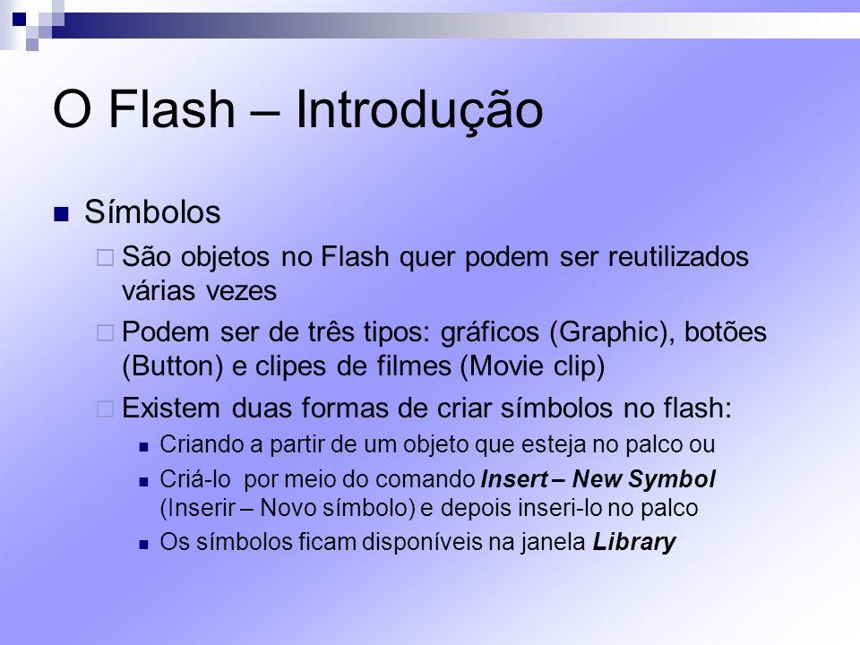 O Flash – Introdução Símbolos São objetos no Flash quer podem ser reutilizados várias vezes Podem ser de três tipos: gráficos (Graphic), botões (Butto