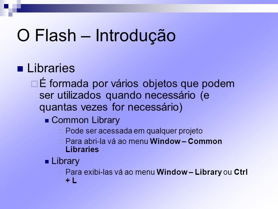 O Flash – Introdução Libraries É formada por vários objetos que podem ser utilizados quando necessário (e quantas vezes for necessário) Common Library