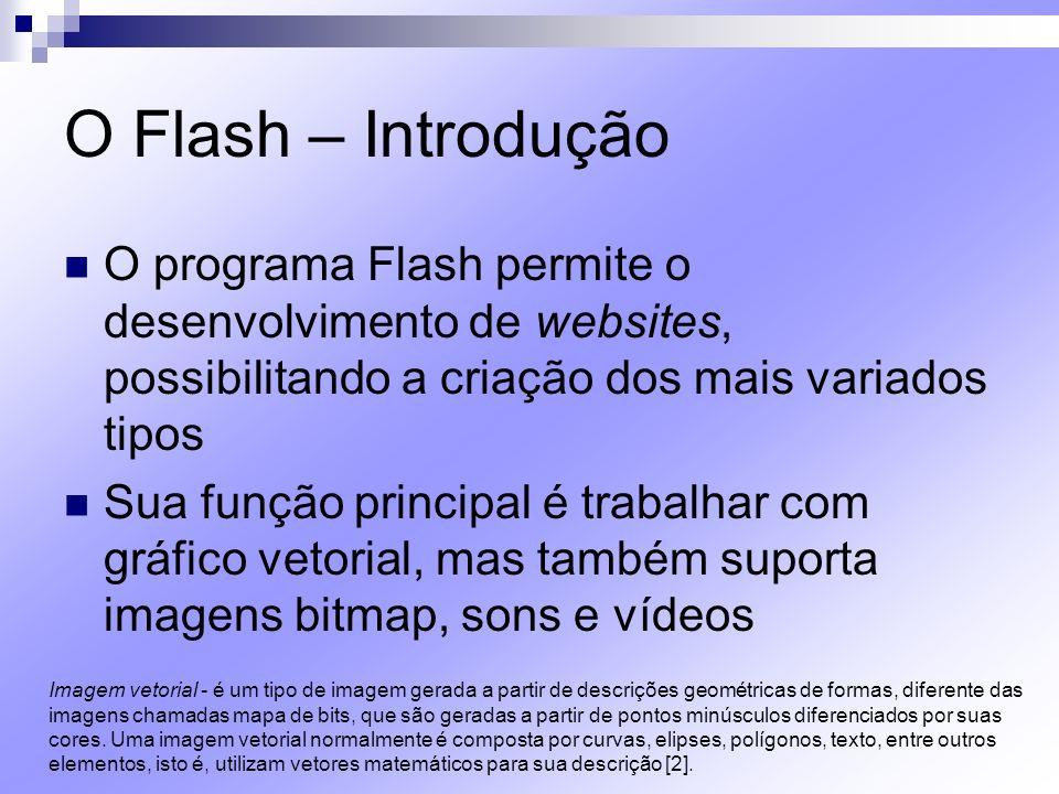 O Flash – Introdução Palco É a área onde é feito todo o trabalho visual, desde gráficos a animações Características-padrão: fundo branco, tamanho de 550 x 400 pixels e 12 fps Estes parâmetros podem ser ajustados na barra de propriedades