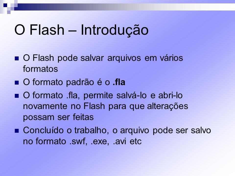 O Flash – Introdução O formato.swf (Shockwave Flash File) é o utilizado para exibir conteúdo na Web O formato.exe é o ideal para salvar apresentações que irão ser executadas localmente No formato.avi, este arquivo poderá ser executado em qualquer player de vídeo
