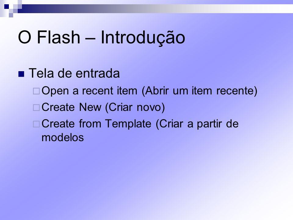 O Flash – Introdução A Interface do Flash Barra de menus File (Arquivo) – Alt + F Edit (Editar) – Alt + E operações na timeline View (Visualizar) – Alt + V Insert (Inserir) – Alt + I Inserir novos objetos, nova timeline, nova cena ou novos efeitos