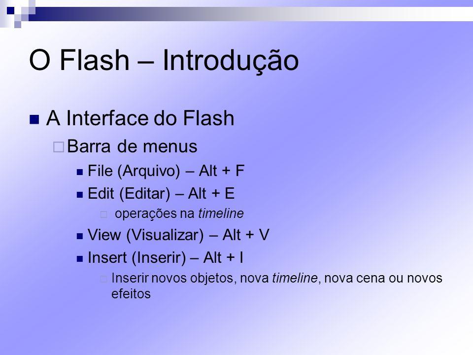 O Flash – Introdução A Interface do Flash Barra de menus Modify (Modificar) – Alt + M Permite transformar um bitmap em vetor, duplicar timeline, mudar a posição de objetos nas layers etc Text (Texto) - Alt + T Commands (comandos) - Alt + C Automatiza tarefas Control (Controle) - Alt + O Permite testar o projeto criado