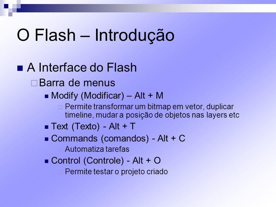 O Flash – Introdução A Interface do Flash Barra de menus Debug (Depuração) - Alt + D Permite procurar por erros de sintaxe nos códigos ActionScript Window (Janela) - Alt + W Permite a visualização de janelas e paletas Help (Ajuda) - Alt + H
