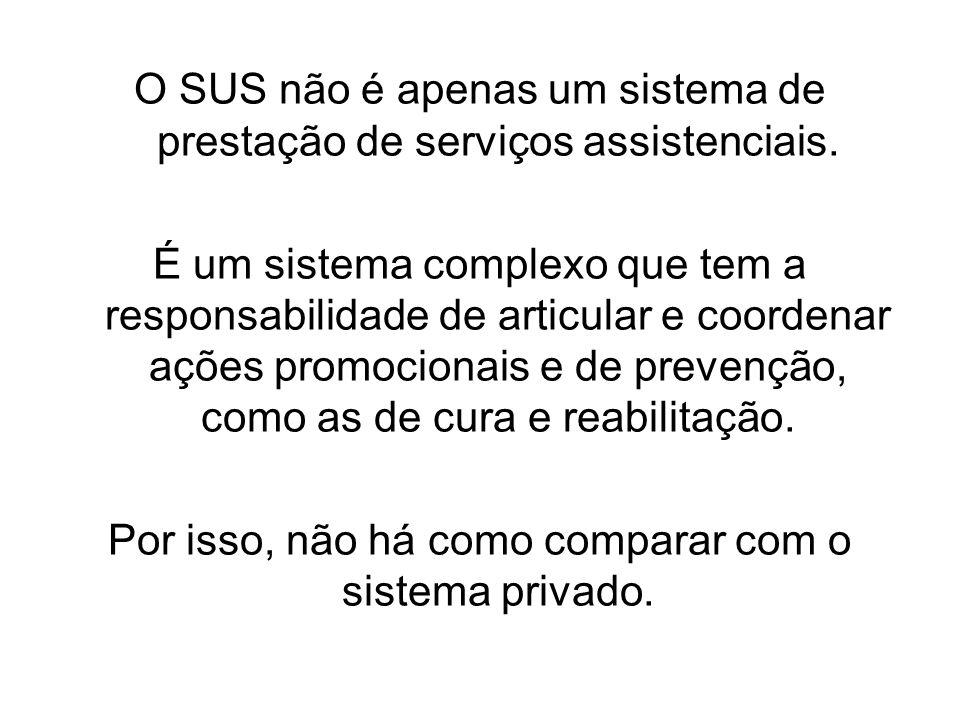 O SUS não é apenas um sistema de prestação de serviços assistenciais. É um sistema complexo que tem a responsabilidade de articular e coordenar ações