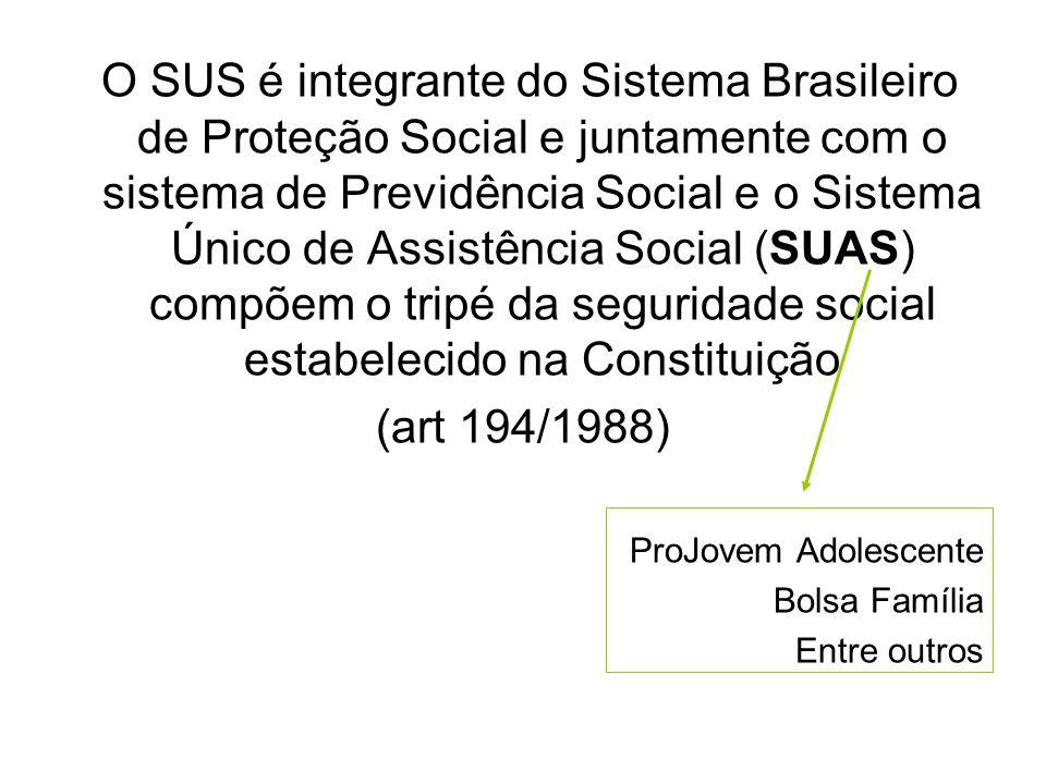 O SUS é integrante do Sistema Brasileiro de Proteção Social e juntamente com o sistema de Previdência Social e o Sistema Único de Assistência Social (
