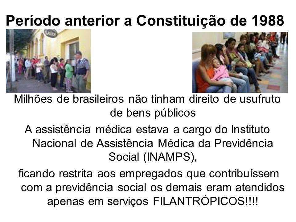 Período anterior a Constituição de 1988 Milhões de brasileiros não tinham direito de usufruto de bens públicos A assistência médica estava a cargo do
