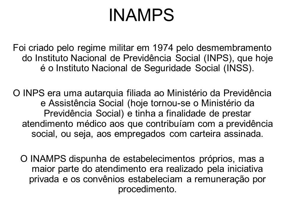INAMPS Foi criado pelo regime militar em 1974 pelo desmembramento do Instituto Nacional de Previdência Social (INPS), que hoje é o Instituto Nacional