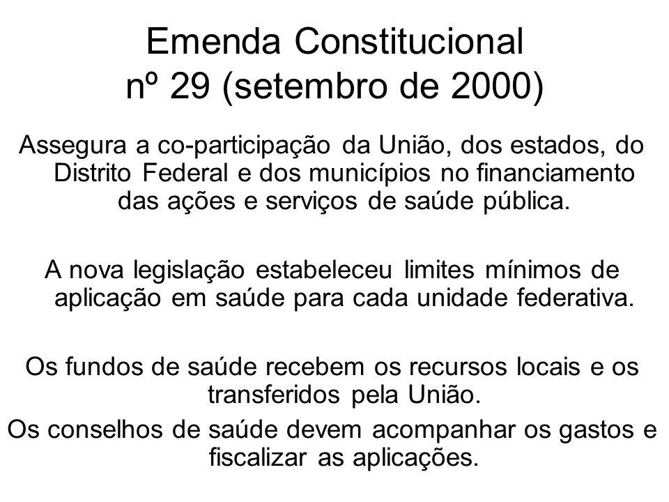 Emenda Constitucional nº 29 (setembro de 2000) Assegura a co-participação da União, dos estados, do Distrito Federal e dos municípios no financiamento