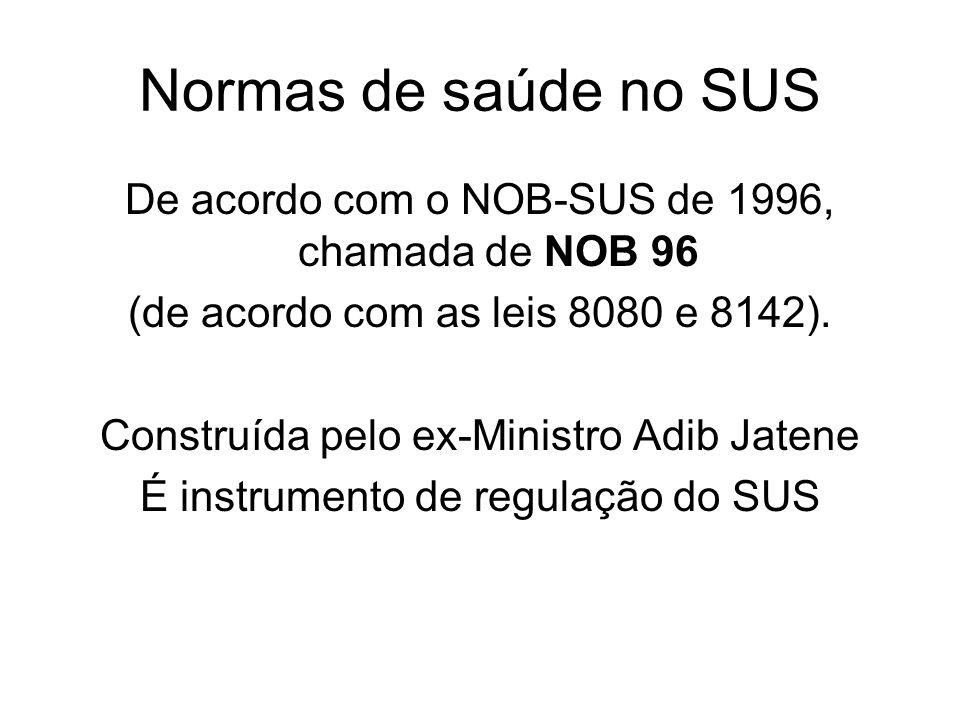Normas de saúde no SUS De acordo com o NOB-SUS de 1996, chamada de NOB 96 (de acordo com as leis 8080 e 8142). Construída pelo ex-Ministro Adib Jatene