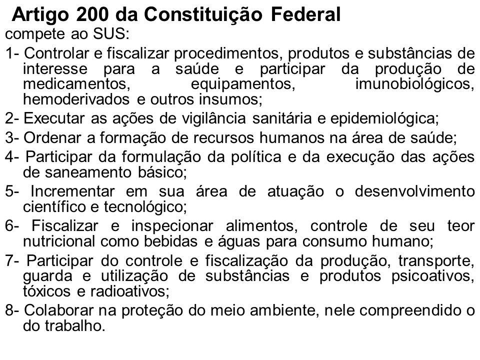 Artigo 200 da Constituição Federal compete ao SUS: 1- Controlar e fiscalizar procedimentos, produtos e substâncias de interesse para a saúde e partici