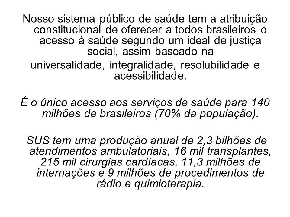 Nosso sistema público de saúde tem a atribuição constitucional de oferecer a todos brasileiros o acesso à saúde segundo um ideal de justiça social, as