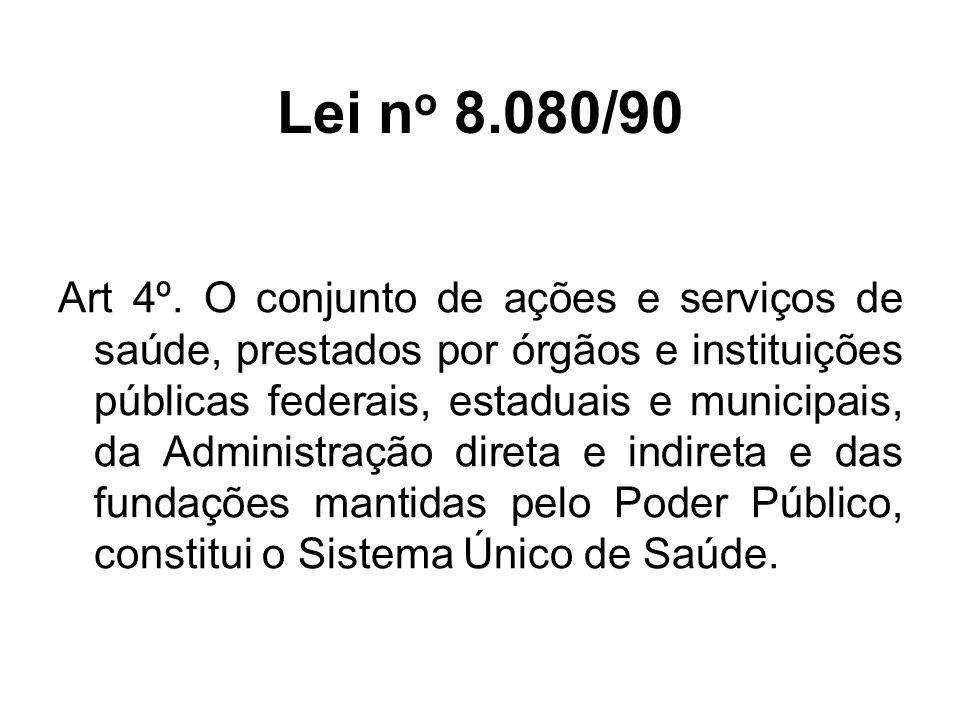 Leis Federais n o 8080 e 8142 (ambas de 1990) são chamadas de Leis Orgânicas da Saúde Nestas Leis também se destacaram: 1- definição do Sistema Nacional de Vigilância Sanitária e a criação da ANVISA; 2- estabelecimento do medicamento genérico; 3- criação do subsistema de saúde indígena; 4- Emenda Constitucional n o 29 (12set2000) que vinculou recursos orçamentários para a saúde.