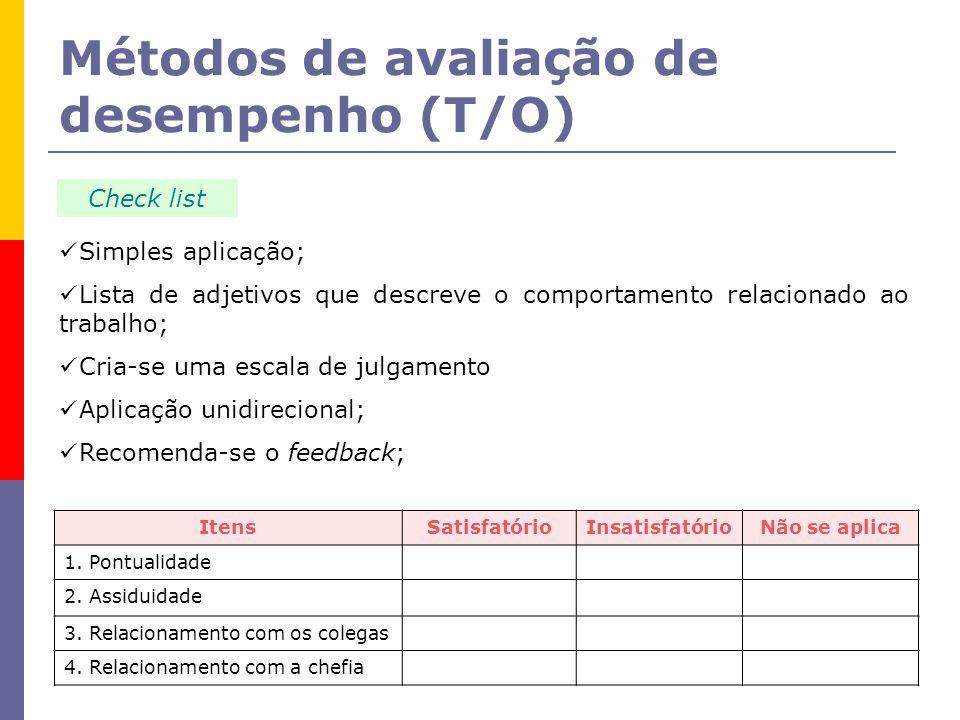 Métodos de avaliação de desempenho (T/O) Check list Simples aplicação; Lista de adjetivos que descreve o comportamento relacionado ao trabalho; Cria-s