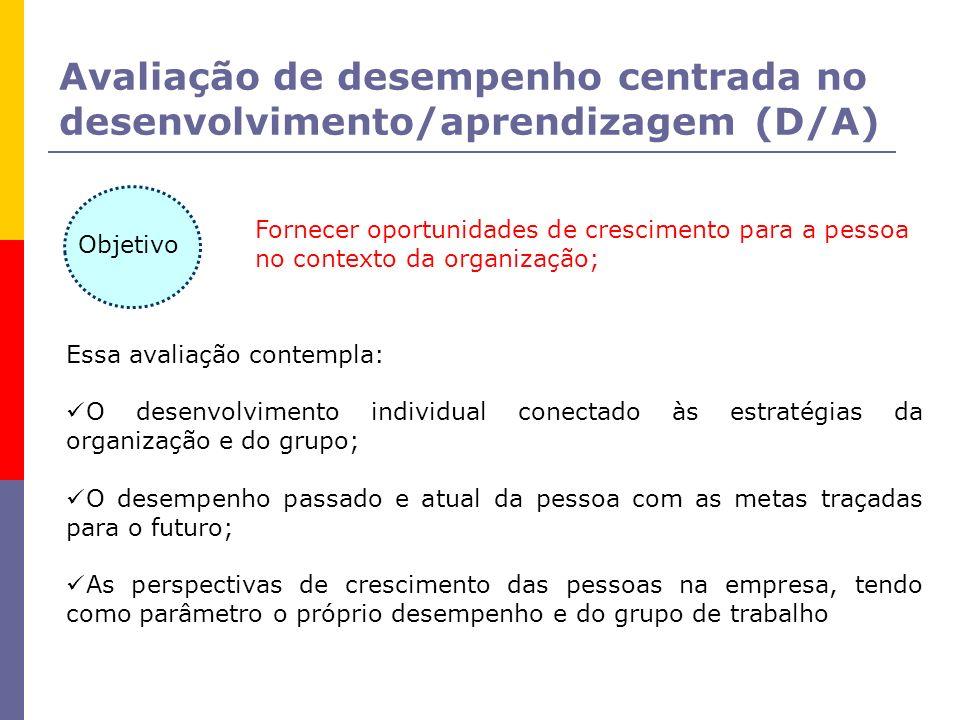 Avaliação de desempenho centrada no desenvolvimento/aprendizagem (D/A) Fornecer oportunidades de crescimento para a pessoa no contexto da organização;
