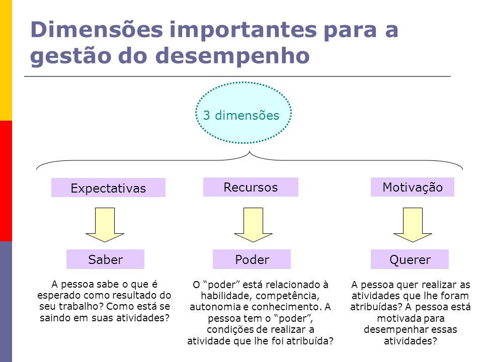 Dimensões importantes para a gestão do desempenho 3 dimensões Expectativas RecursosMotivação SaberPoderQuerer A pessoa sabe o que é esperado como resu