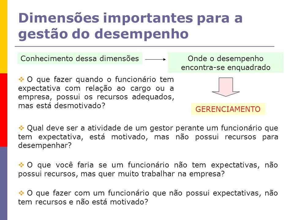 Dimensões importantes para a gestão do desempenho Conhecimento dessa dimensõesOnde o desempenho encontra-se enquadrado GERENCIAMENTO O que fazer quand