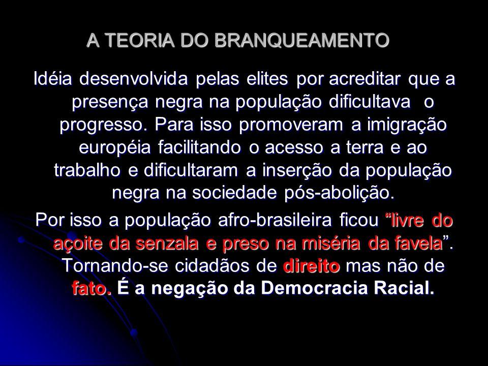 A TEORIA DO BRANQUEAMENTO Idéia desenvolvida pelas elites por acreditar que a presença negra na população dificultava o progresso. Para isso promovera