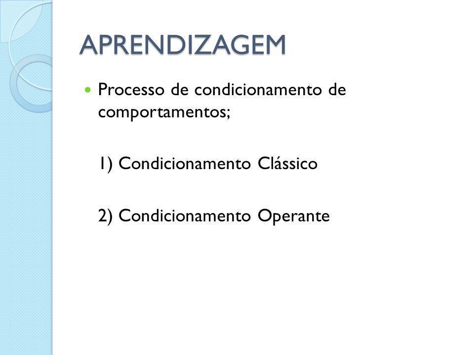 APRENDIZAGEM Processo de condicionamento de comportamentos; 1) Condicionamento Clássico 2) Condicionamento Operante