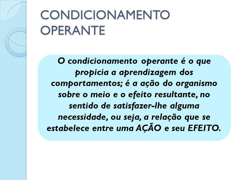 O condicionamento operante é o que propicia a aprendizagem dos comportamentos; é a ação do organismo sobre o meio e o efeito resultante, no sentido de