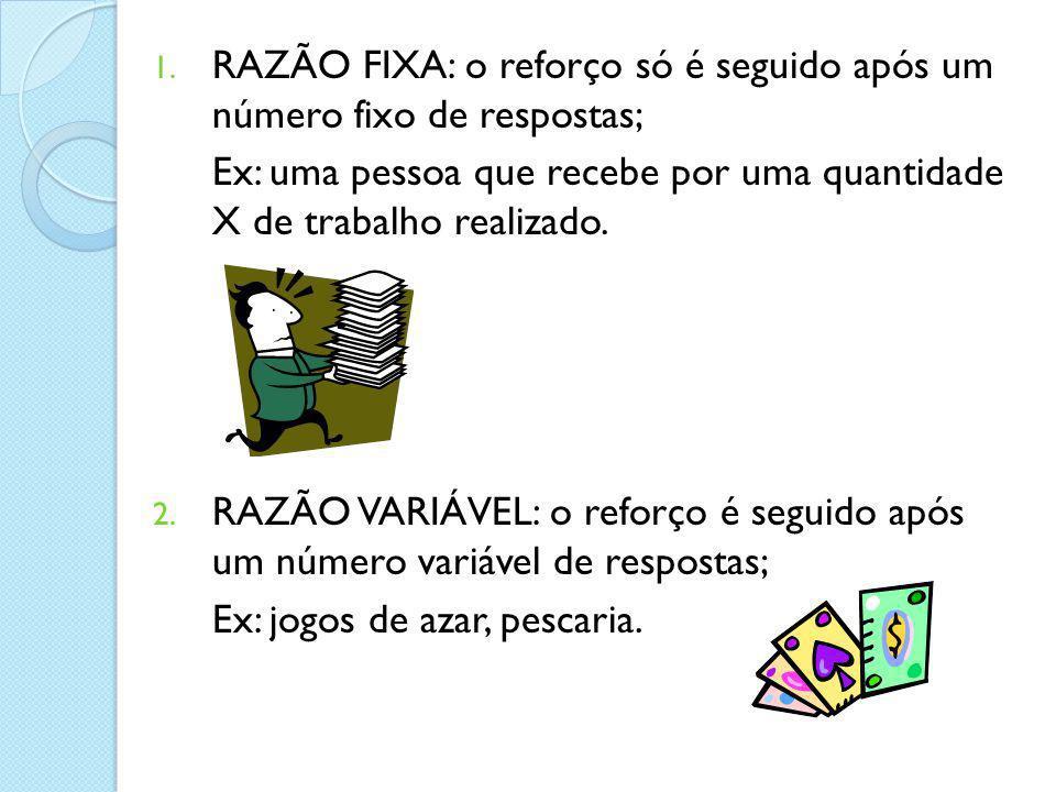 1. RAZÃO FIXA: o reforço só é seguido após um número fixo de respostas; Ex: uma pessoa que recebe por uma quantidade X de trabalho realizado. 2. RAZÃO